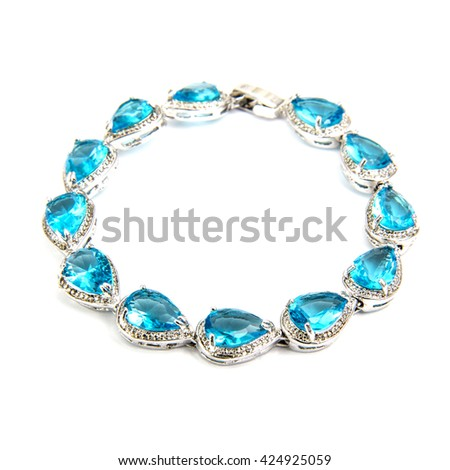 Fashion sapphire Bracelet isolated on white - stock photo