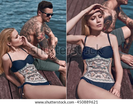Fashion, seductive girl in knitted swimsuit getting a suntan with brutal man on the beach.