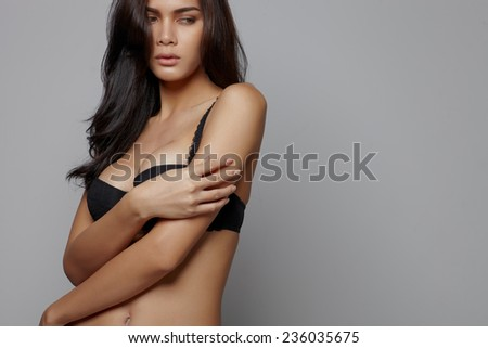 Fashion sensuality asian model in studio shoot