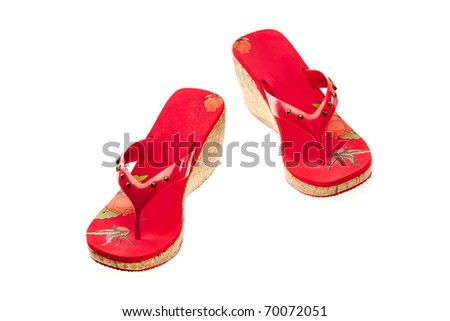 fashion series: red fashioned sandals over white