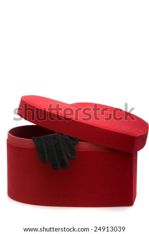 Fashion series: woman's black glove in the heart box - stock photo