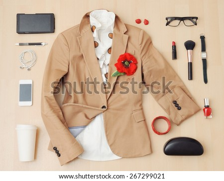 fashion set of accessories and stuff for the fall, fashion concept  - stock photo