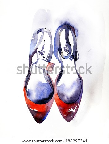 Fashion shoe illustration - stock photo