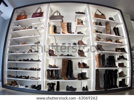 Fashion shoe store shelf - stock photo