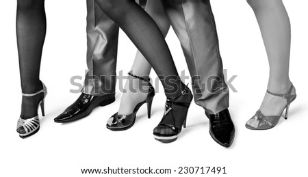 fashion shoes on a white background.Black - white photograph. - stock photo