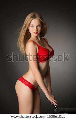 Fashion shoot of young  woman in lingerie