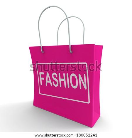 Fashion Shopping Bag Showing Fashionable Trendy And Stylish - stock photo