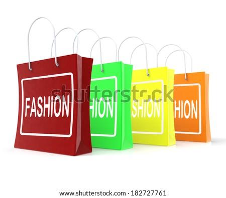 Fashion Shopping Bags Showing Fashionable Trendy And Stylish - stock photo