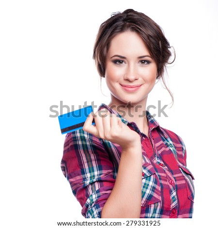 fashion, shopping, banking and payment concept - smiling elegant woman with plastic credit card - stock photo