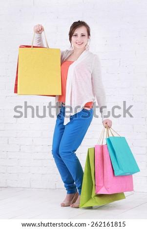 Fashion Shopping Girl Portrait. - stock photo