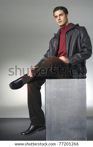 Fashion Shot of a young man a professional model - stock photo