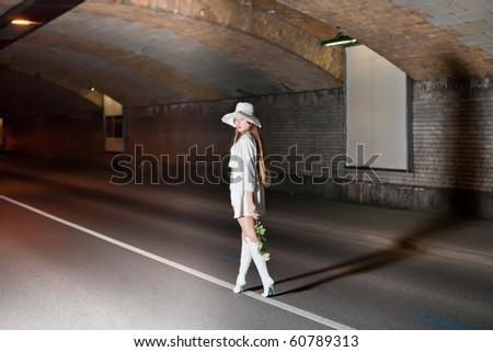 fashion shot of a young woman - stock photo