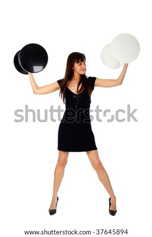 fashion shot of a young woman lifting weights in hands - stock photo