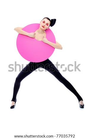 Fashion shot of an attractive model. Make-up. Shapes concept. Isolated over white background. - stock photo