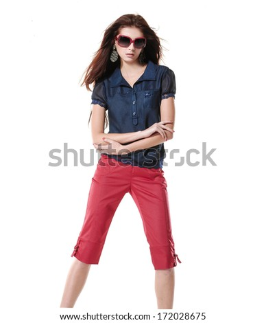 fashion shot of girl with sunglasses posing on white background - stock photo