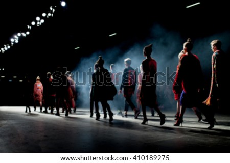 Fashion Show, A Catwalk Event, Blurred On Purpose - stock photo