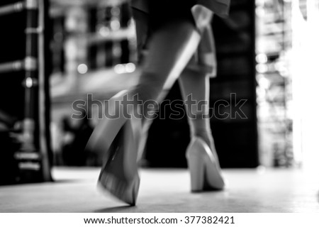 Fashion Show, blurred motion - stock photo