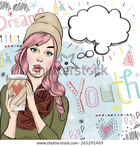 Fashion sketch illustration of girl with coffee cup in the hand with speech bubble. Student girl. Youth.Young girl with thought bubble. Youth style poster. youth culture, sexy girl, pink hair, selfie - stock photo