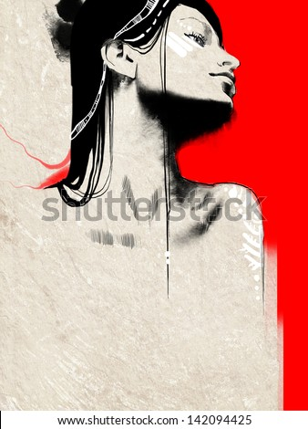 Fashion sketch illustration portrait of a young beautiful woman with black long hair wearing ethnic indian jewelry - stock photo