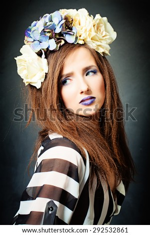 Fashion Studio Portrait of Beautiful Model. Creative Makeup and Hairstyle - stock photo
