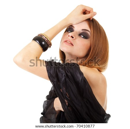 Fashion studio shot of beautiful woman with black scarf on white background
