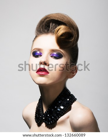 Fashion Style. Glamorous Brunette in Black Collar and Trendy Hairdo - stock photo