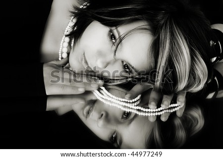 Fashion style photo of beautiful lady - stock photo