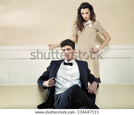 Fashion style photo of young couple
