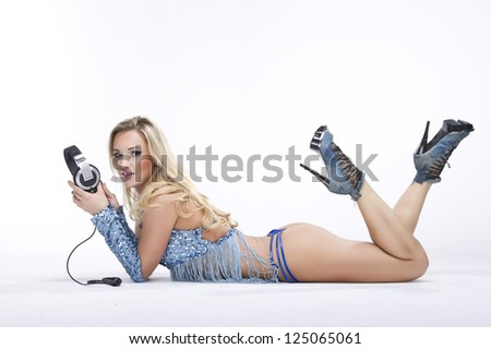 fashion stylish portrait yong women dj on white background - stock photo