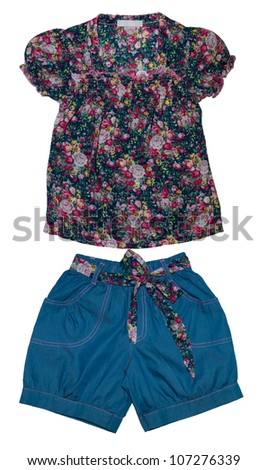 Fashion summer suit for girl - stock photo