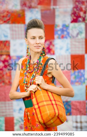 Fashion summer woman with a bag - stock photo