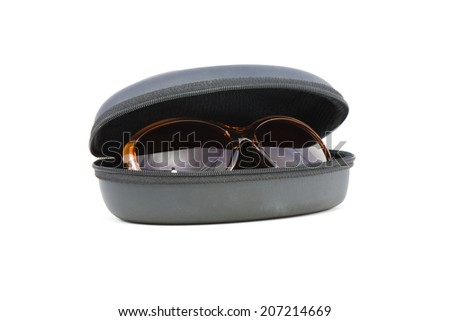 Fashion sunglasses and case on a white background