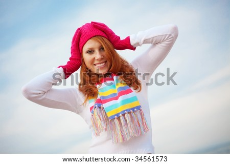 Fashion teenage girl wearing spring clothing over sky - stock photo