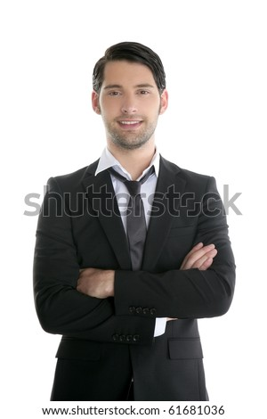 Fashion trendy elegant young black suit man posing looking camera
