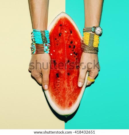Fashion Tropical style. Bright Accessories Bracelets. Trend Summer Season - stock photo