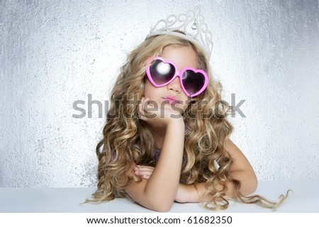 fashion victim little princess girl humor portrait crown and hearth shape glasses - stock photo