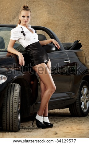 Fashion  vintage woman with cabriolet car - stock photo