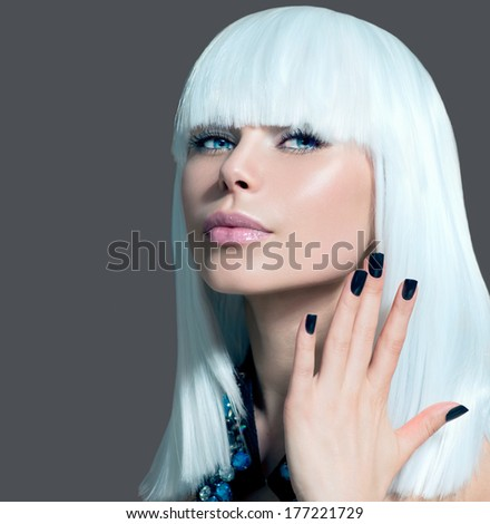 Fashion Vogue Style Model Portrait. Beauty Woman with White Hair and Black Nails. Beautiful Stylish Girl Portrait. Makeup. Fringe hair style. Over Grey Background  - stock photo