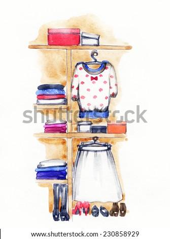 fashion watercolor illustration . closet.  - stock photo