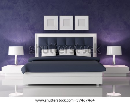 fashion white and navy blue bedroom against dark purple stucco wall - rendering