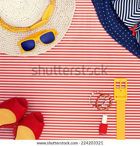 fashion woman beach sun marine style clothing set - stock photo