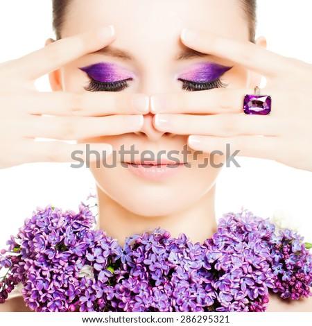 Fashion Woman. Beautiful Makeup and Manicure Nails. Blossom Girl - stock photo