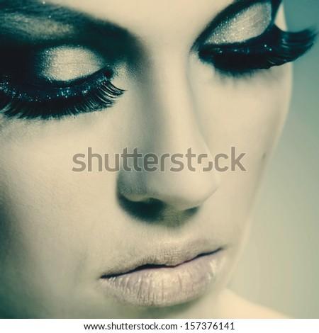 Fashion woman, beauty female portrait for your design - stock photo