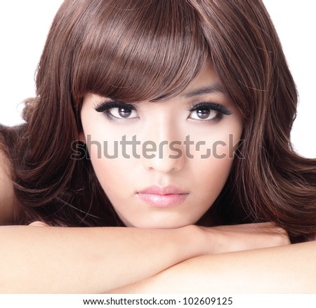 Fashion woman face portrait close up with white background, model is a asian beauty - stock photo