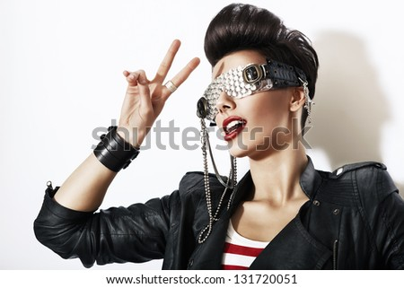 fashion woman in creative glasses