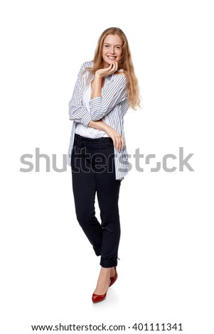 Fashion woman in full length happy smiling laughing over white background