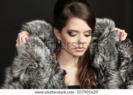 Woman Fur Coat Stock Photos Royalty-Free Images &amp Vectors