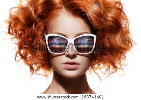 Fashion Woman In Sunglasses With Beach Reflection - stock photo