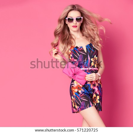 Fashion Woman Trendy Spring Summer Dress Stock Photo 571220725