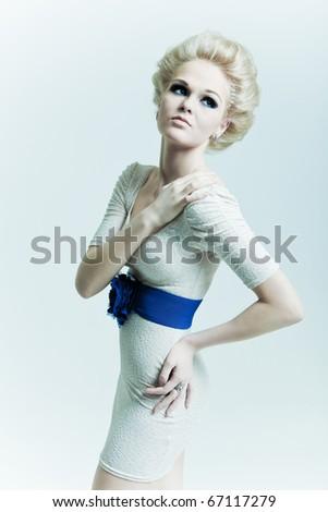 Fashion woman looks away - stock photo